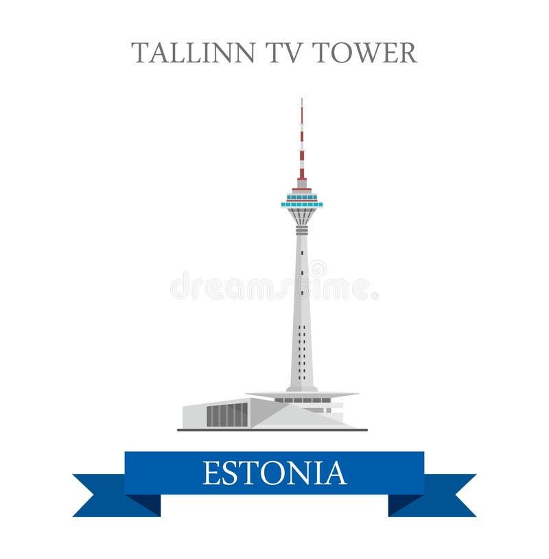 Señal plana de la vista de la atracción del vector de Estonia de la torre de Tallinn TV libre illustration
