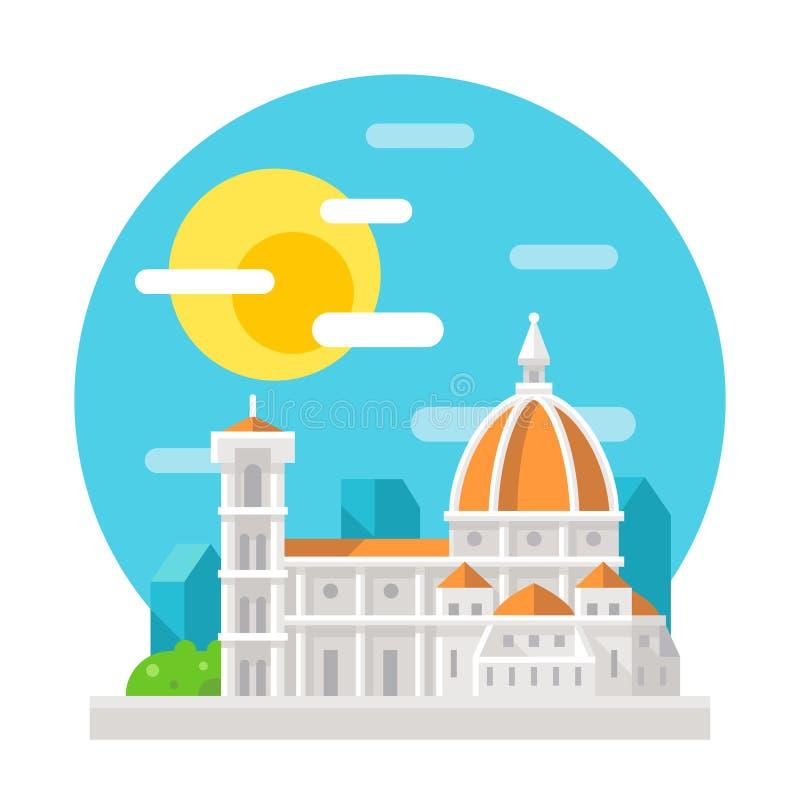 Señal plana del diseño de la catedral de Florencia ilustración del vector