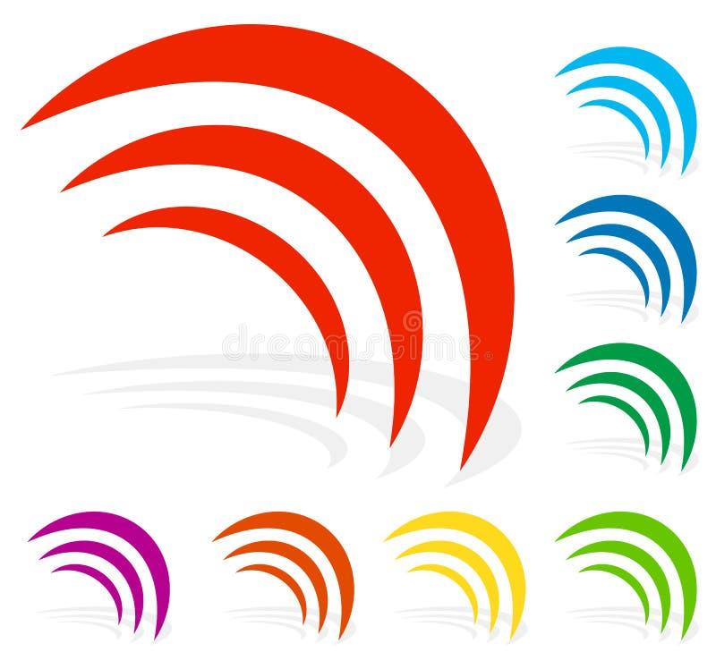 Señal, radiación, emisión, forma de ondas en el color 8 stock de ilustración
