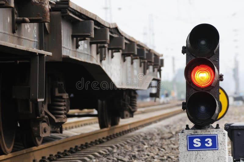 Señal roja del tren foto de archivo libre de regalías