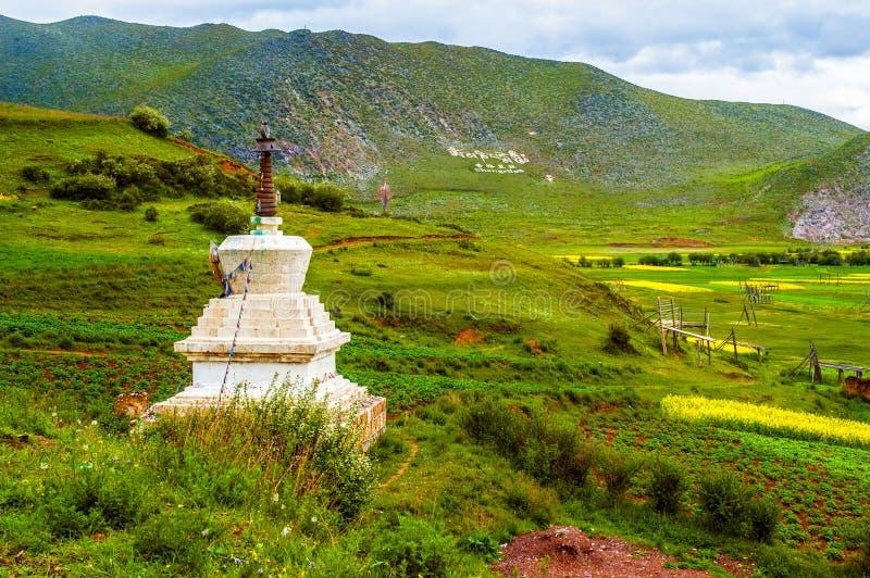 Señal tibetana de la escena-Shangrila de la región foto de archivo libre de regalías