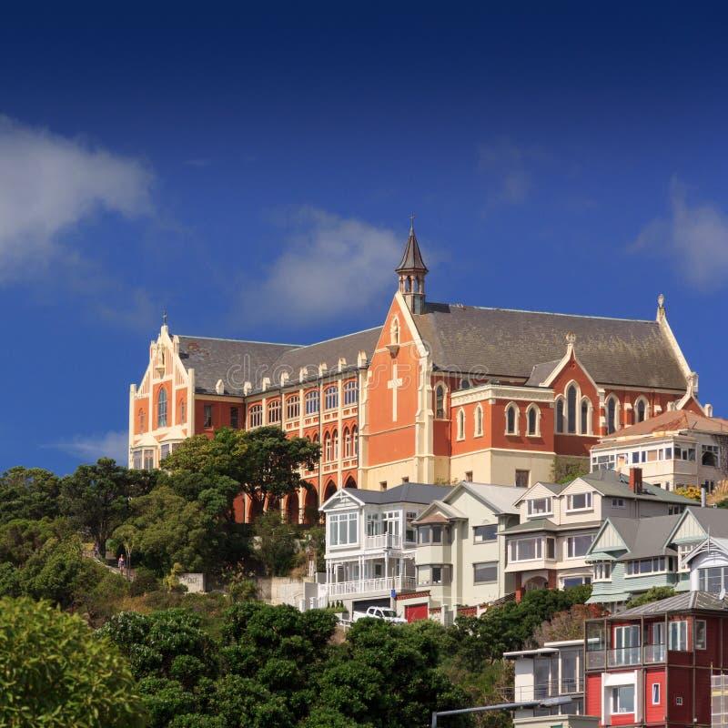 Señal vieja de la iglesia - Wellington, Nueva Zelanda imágenes de archivo libres de regalías