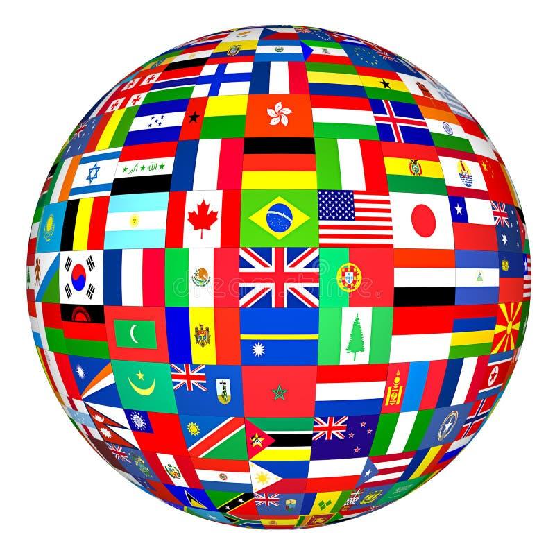 Señala el globo por medio de una bandera foto de archivo libre de regalías