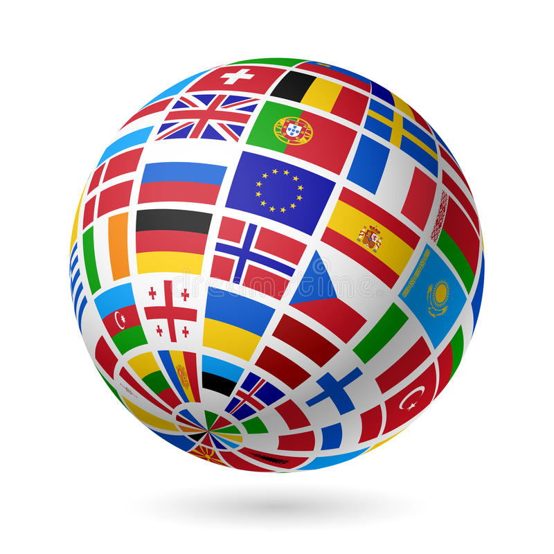 Señala el globo por medio de una bandera. Europa. ilustración del vector