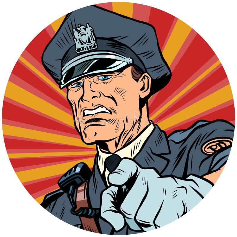 Señala el icono serio del carácter del avatar del arte pop del oficial de policía ilustración del vector