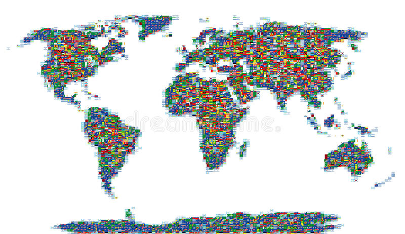 Señala el mundo del mosaico por medio de una bandera fotografía de archivo libre de regalías
