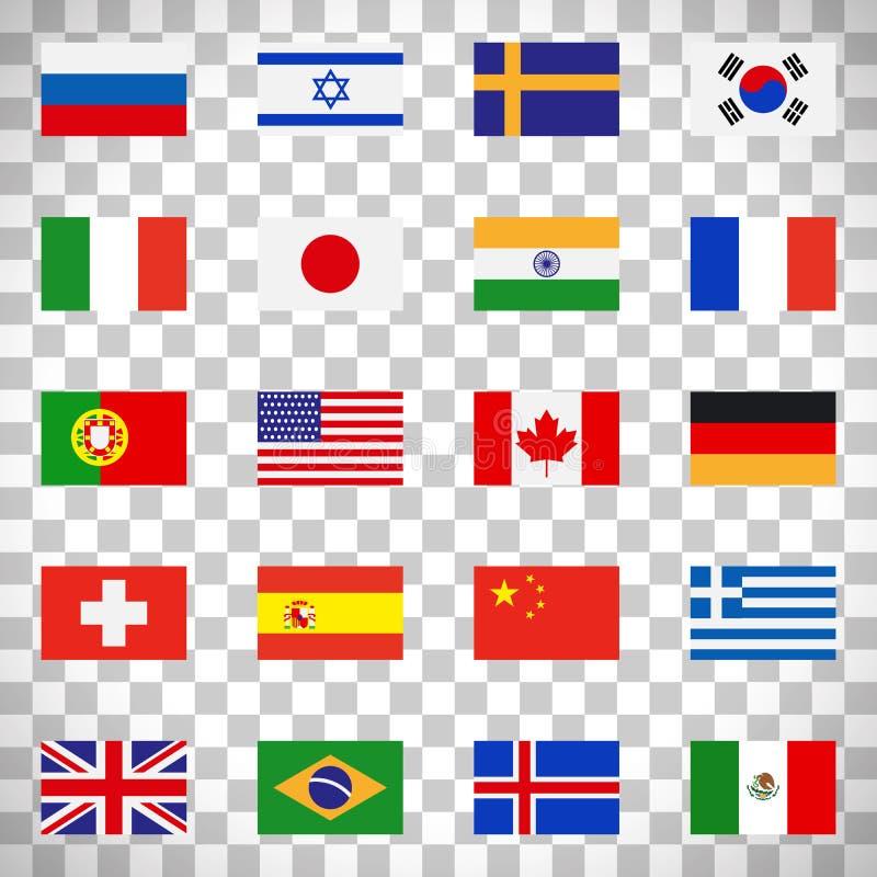 Señala iconos por medio de una bandera en fondo transparente stock de ilustración
