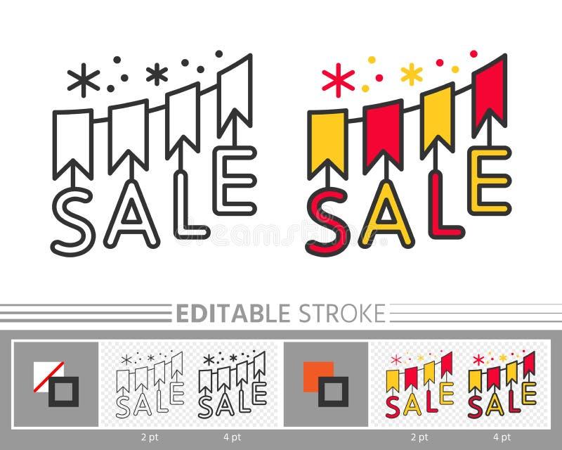 Señala la línea editable icono de la bandera por medio de una bandera de la venta de la guirnalda stock de ilustración