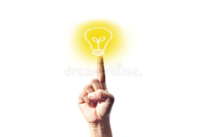 Señalando una bombilla amarilla clara que refleja la mejor idea, aislada en un fondo blanco libre illustration