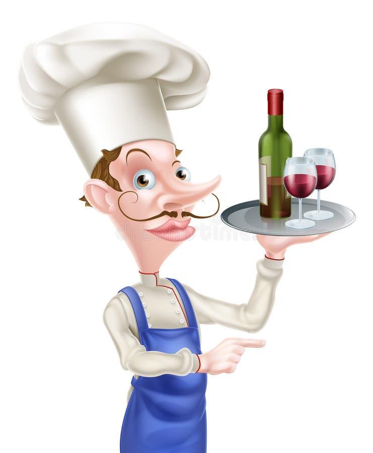 Señalar al cocinero del vino stock de ilustración