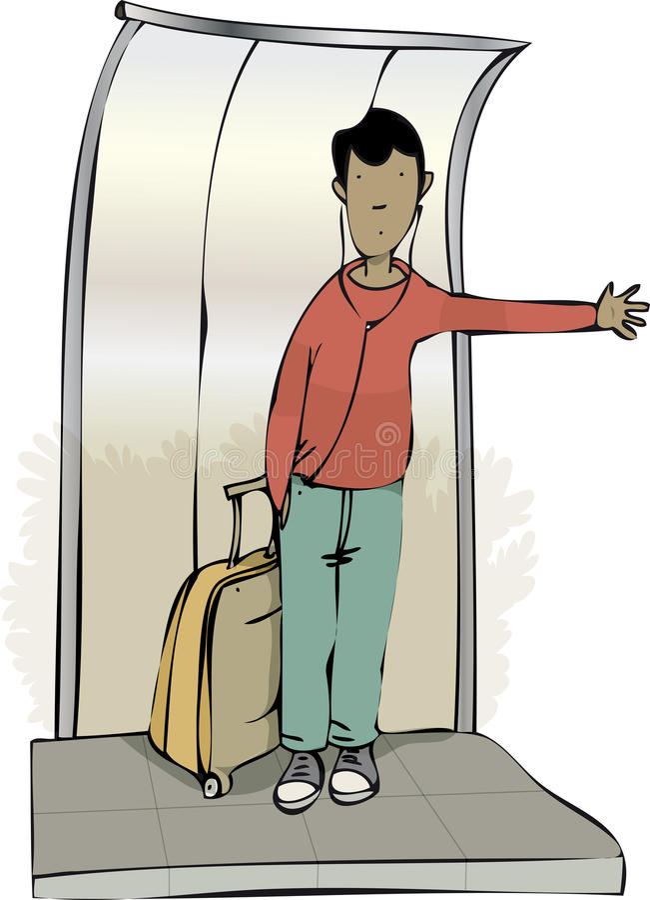 Señalar el autobús por medio de una bandera ilustración del vector