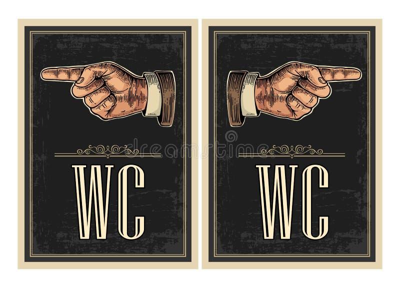 Señalar el dedo Dé la muestra para el web, cartel, gráfico de la información stock de ilustración