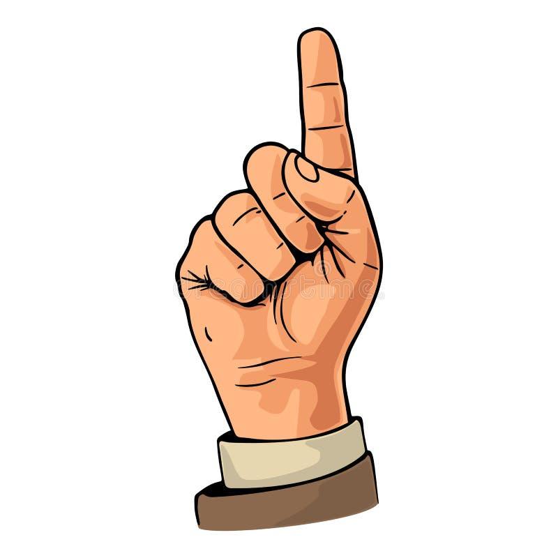 Señalar el dedo Muestra de la mano del número uno ilustración del vector