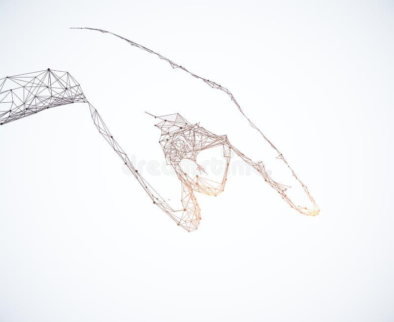 Señalar la mano poligonal en el fondo blanco ilustración del vector