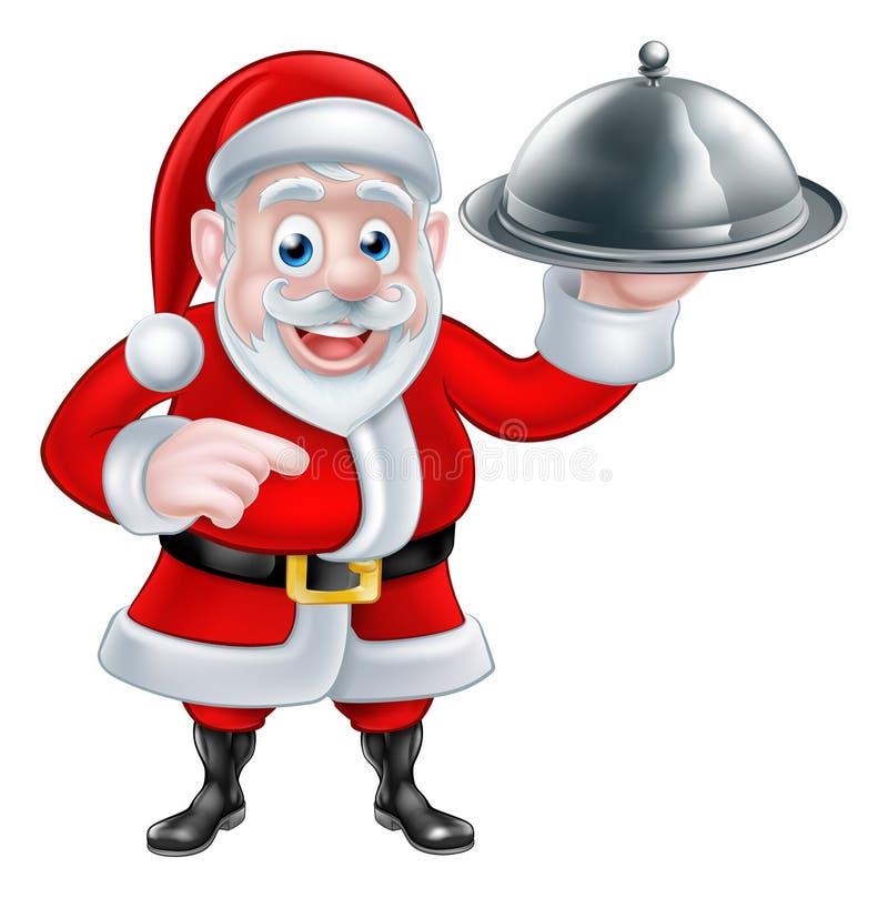 Señalar a Santa Chef Holding Christmas Dinner ilustración del vector