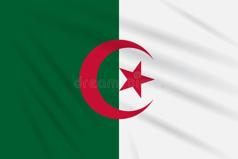 Señale Argelia por medio de una bandera que se sacude en el viento, vector realista libre illustration