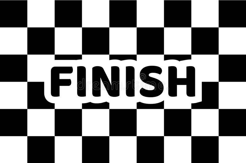 Señale competir con por medio de una bandera auto, final de la inscripción, icono plano stock de ilustración