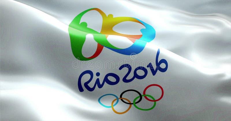 Señale con Río 2016 Juegos Olímpicos por medio de una bandera foto de archivo