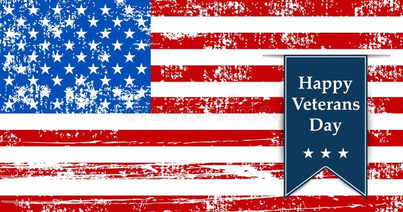 Señale el ejemplo de América por medio de una bandera a los veteranos del día retros ilustración del vector