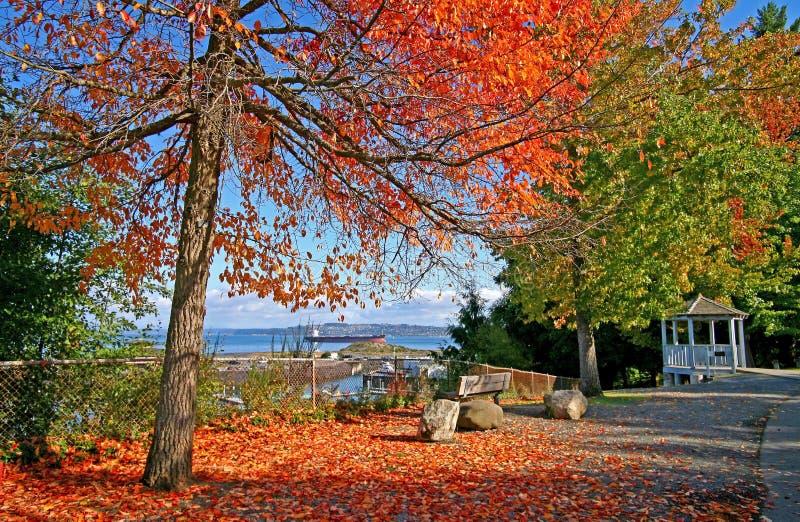 Señale el parque del desafío en Tacoma WA con las hojas rojas y de la naranja imagen de archivo libre de regalías