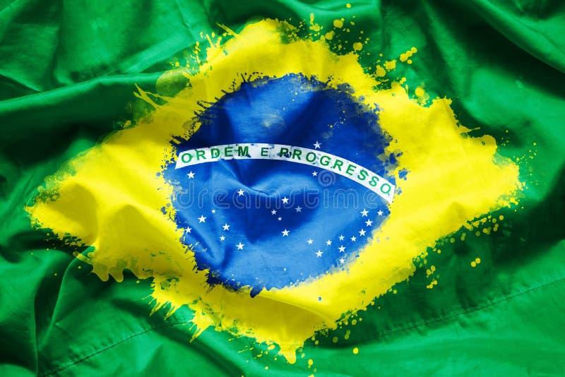 Señale la República Federal de Brasil por medio de una bandera el Brasil por la brocha de la acuarela en la tela de la lona, esti imagen de archivo libre de regalías