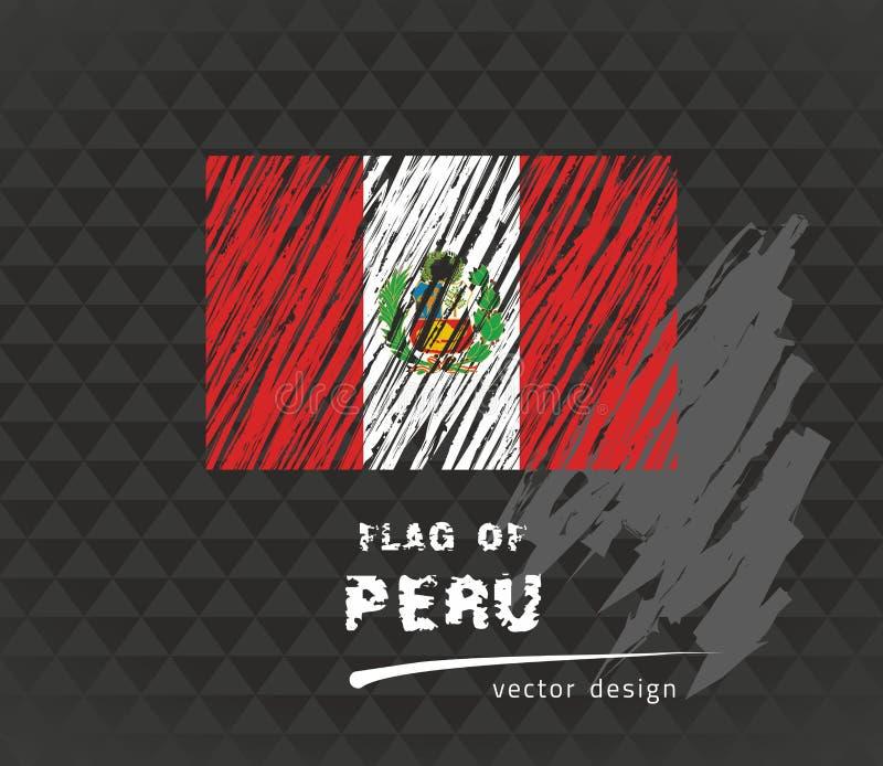 Senale Peru Por Medio De Una Bandera Ejemplo De La Pluma Del Vector En Fondo Negro Ilustracion Del Vector Ilustracion De Vector Bandera 117703288