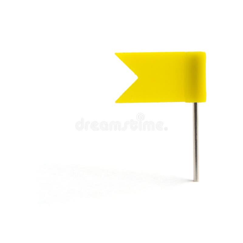 Señale un amarillo del contacto por medio de una bandera imagenes de archivo