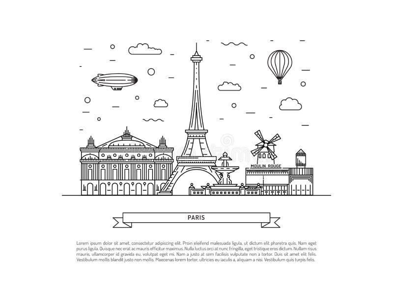 Señales arquitectónicas de París stock de ilustración