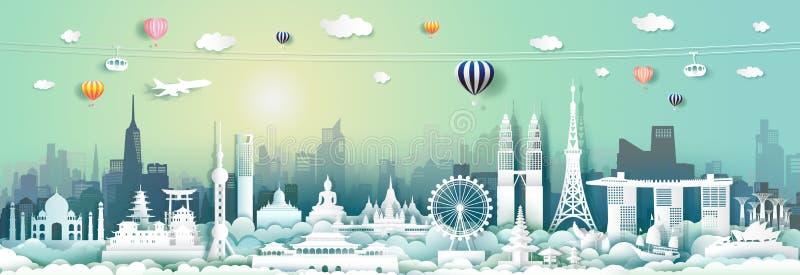 Señales Asia del viaje con la ANSA del horizonte y del turismo del paisaje urbano ilustración del vector