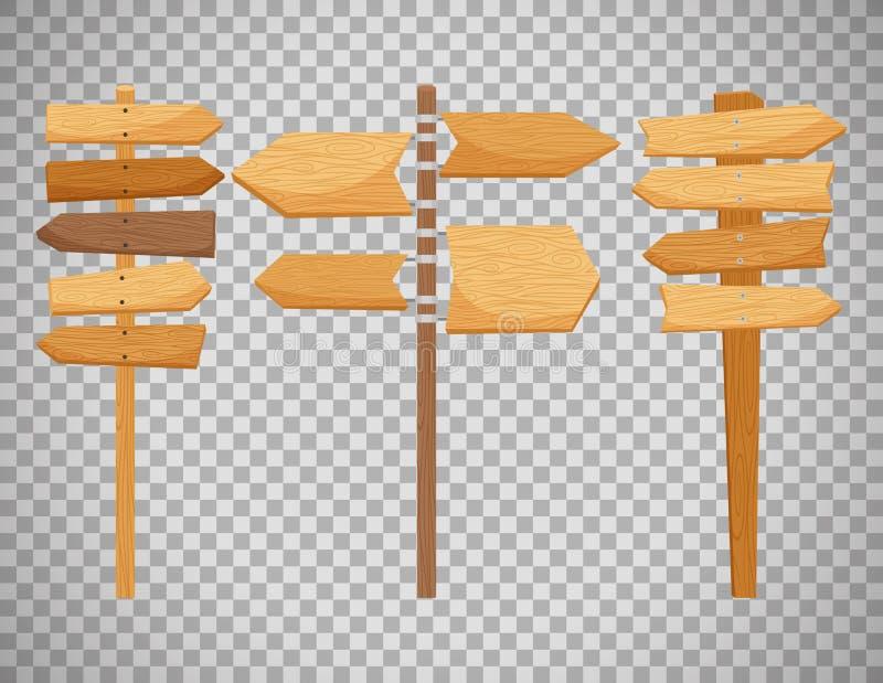 Señales de dirección de madera de la manera stock de ilustración