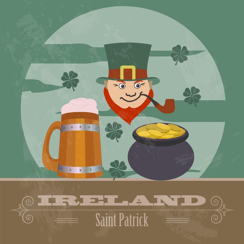 Señales de Irlanda Imagen diseñada retra ilustración del vector