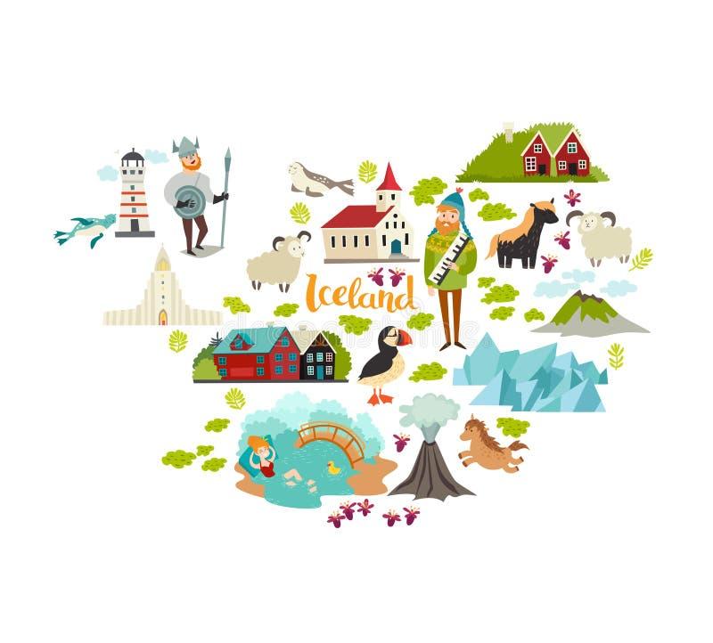 Señales de Islandia, contorno esquemático del mapa libre illustration