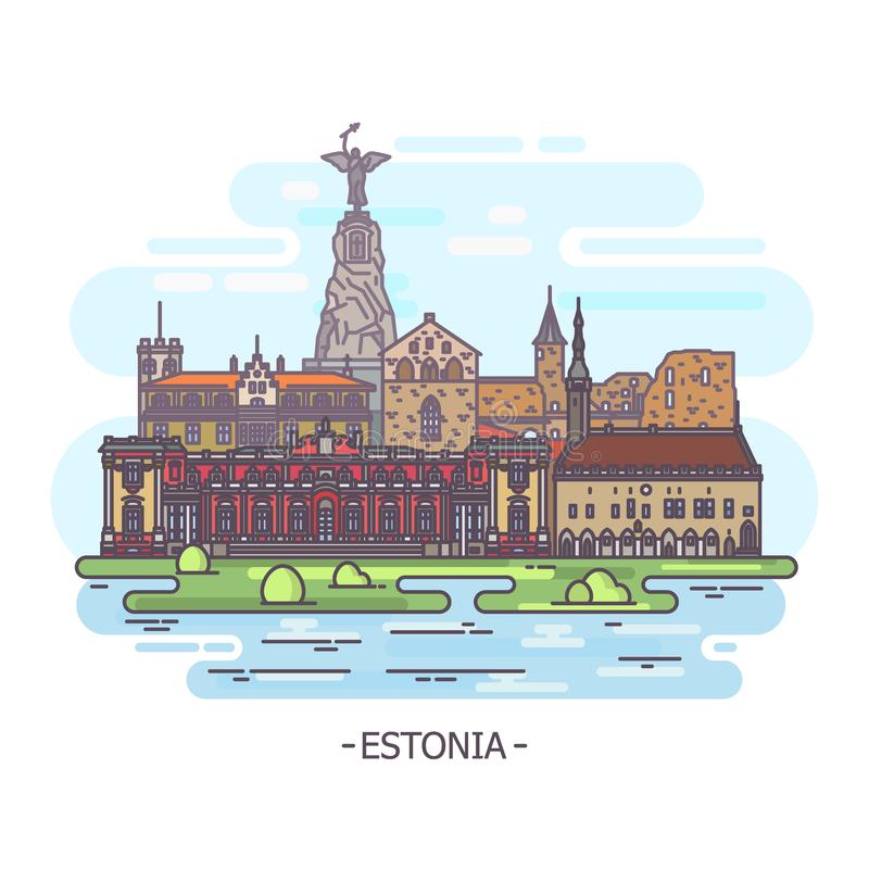Señales de la arquitectura de Estonia Monumentos estonios ilustración del vector