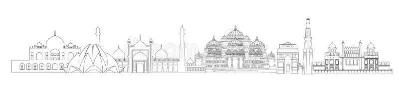 Señales de la India, Delhi El horizonte del viaje de Nueva Deli de la ciudad india compite foto de archivo libre de regalías