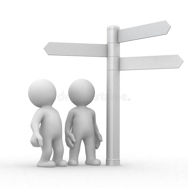 Señales de la opción y de direcciones ilustración del vector