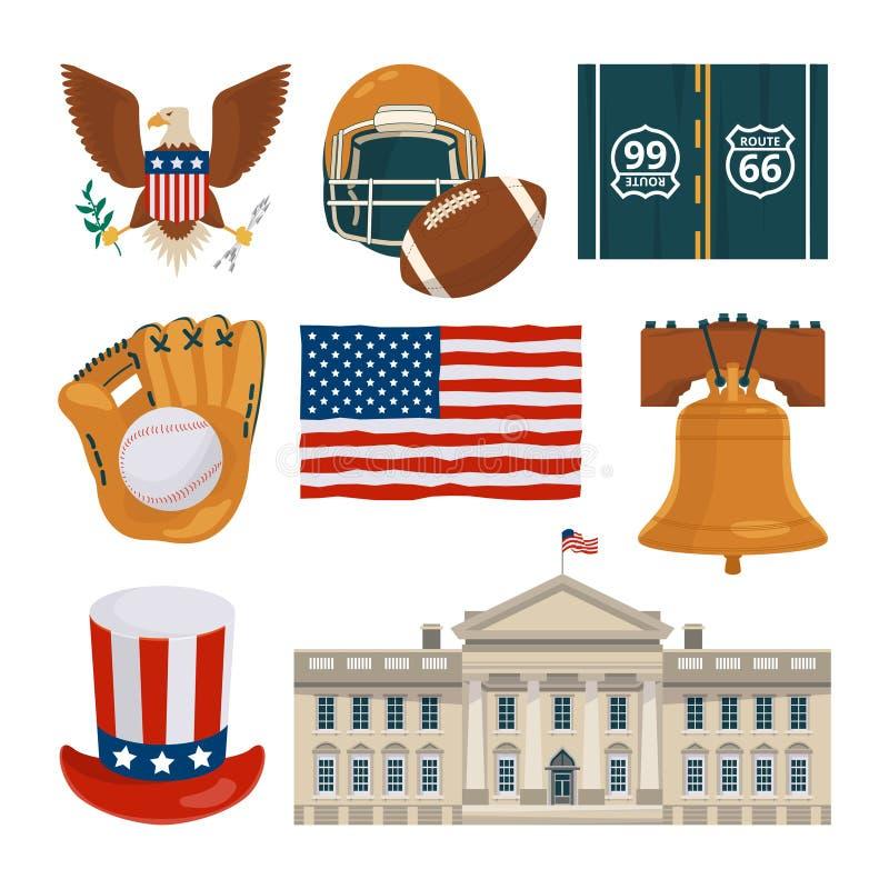 Señales de los E.E.U.U. y otros diversos objetos culturales libre illustration
