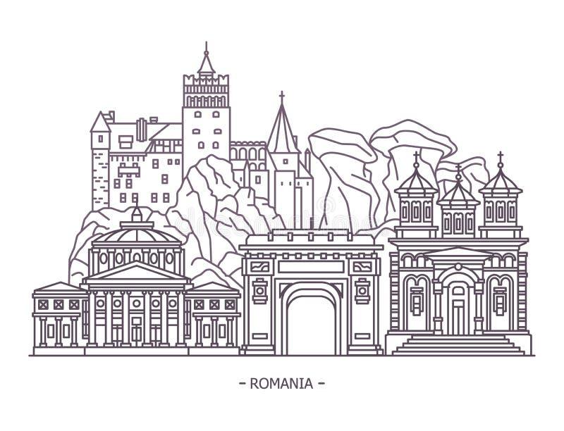 Señales de los monumentos o de Rumania stock de ilustración