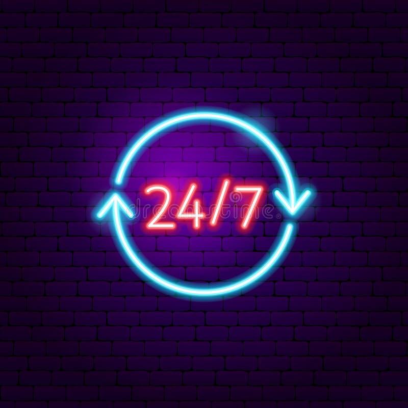 24 señales de neón 7 ilustración del vector