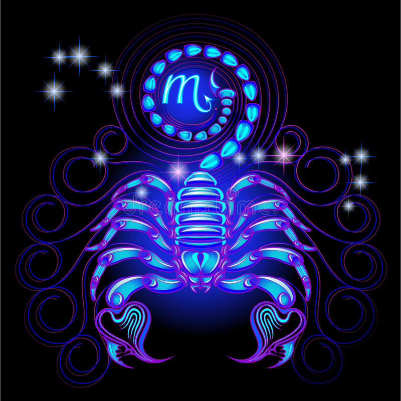 Señales de neón del zodiaco: Escorpión libre illustration