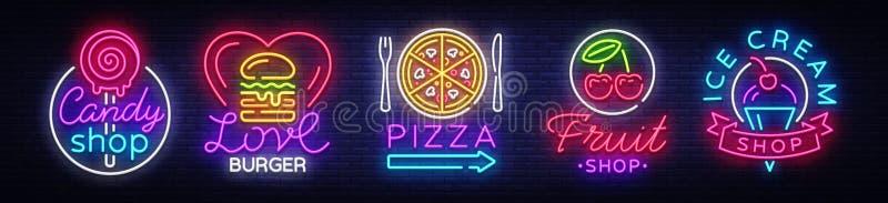 Señales de neón grandes de la colección en la comida del tema Fije las señales de neón hamburguesa, dulces, pizza, frutas, tienda ilustración del vector