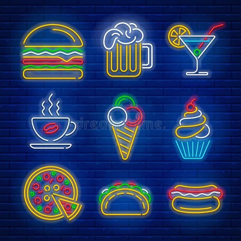 Señales de neón de los alimentos de preparación rápida y de la bebida libre illustration