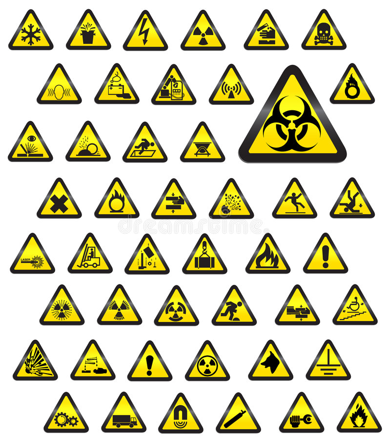 Señales de peligro vidriosas - vector ilustración del vector