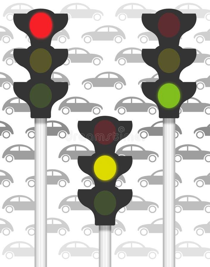 Señales de tráfico en tráfico stock de ilustración