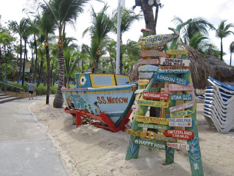 Señales de tráfico de la playa fotos de archivo libres de regalías