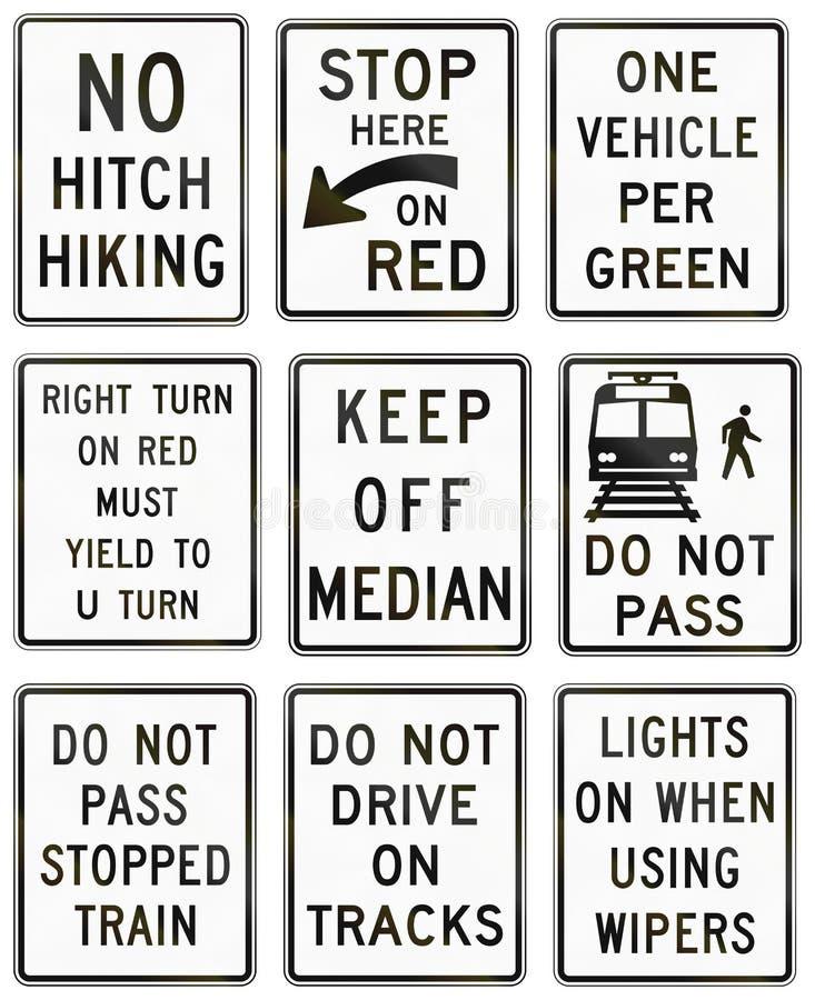Señales de tráfico reguladoras de Estados Unidos MUTCD ilustración del vector