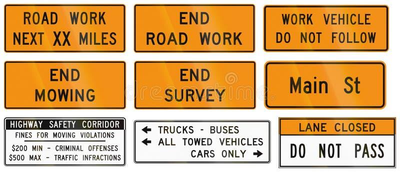 Señales de tráfico usadas en el estado de los E.E.U.U. de Virginia libre illustration