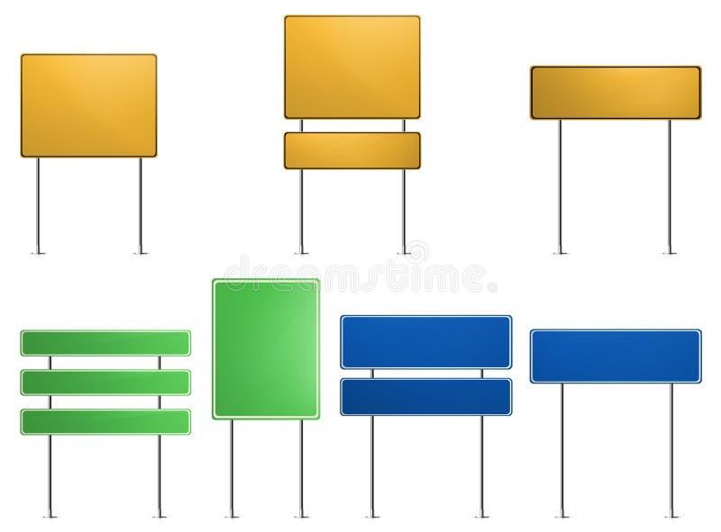 Señales de tráfico verdes, azules, amarillas stock de ilustración