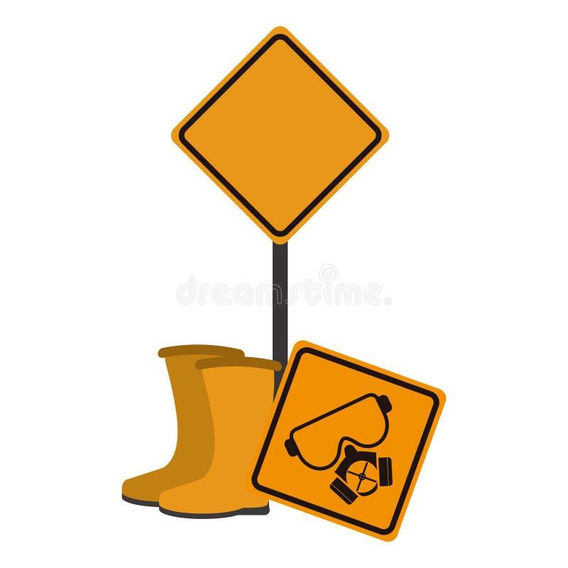 Señales de tráfico y botas de la construcción ilustración del vector