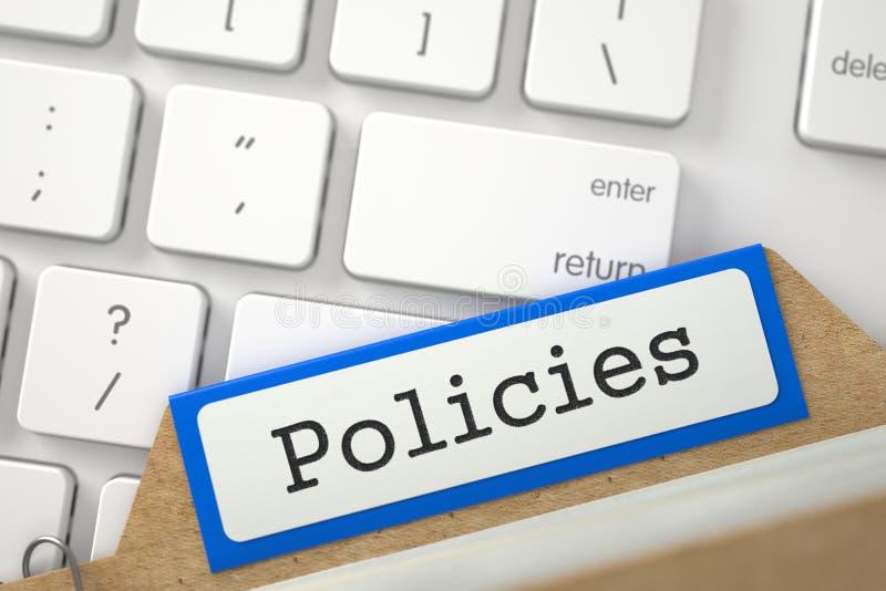 Señales del archivo del índice de tarjeta con políticas 3d foto de archivo libre de regalías