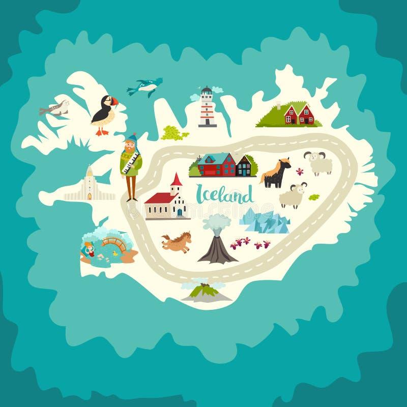 Señales del mapa de Islandia ilustración del vector